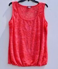 Deb,  flowered print tank top, see thru,  size 1 XL color pink/rose
