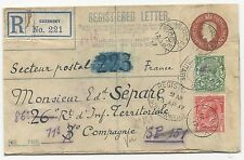 Great Britain Scott #159-160 H&G #37 on Registered WWI Letter April 12, 1917