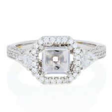 NEW Semi-Mount Halo Engagement Ring - 14k Gold Fits 6mm Center w/Diamonds .90ctw