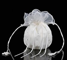 White Satin & Organza Pearl Bridal Dolly Bag / Wedding Flowergirl Handbag