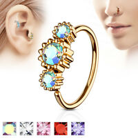 1pc Rose Gold Three CZ Gem Hoop Nose / Cartilage Ring Rook Daith Helix Tragus