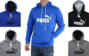 Puma Essentials Long Sleeve Hoodie Big Logo Men's Pullover Kangaroo Pocket