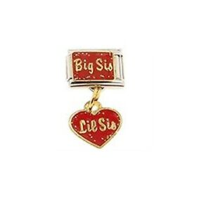 9mm Italian Charm D27 Sisters Big Sis Little  Dangle Fits Classic Size Bracelet