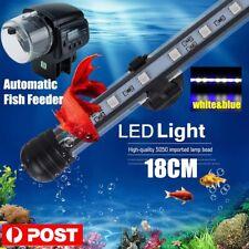 Digital Auto Fish Feeder Dispenser &Waterproof Aquarium Tank LED Light Bar Lamp