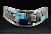 Native American MULTI-STONE Inlay Cuff Bracelet with Sterling Silver, Signed