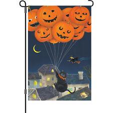 """Halloween Pumpkin Balloons Cat Witch Moon Bat Mouse Garden Flag Small 18"""" x 12"""""""