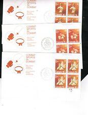 CANADA 1975  3 COMBAT SPORTS BL/4  B7, B8 B9 $10.00 THREE FDC BOX 505