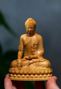 Mini Thai Buddha Statue Home Decoration Collectible Wood Figure Ornaments Gift