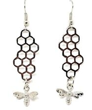 Bee and Honeycomb Earrings Dangle Unique Fun Quality Earrings