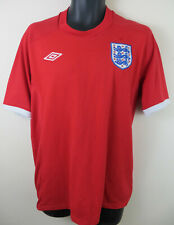 "Umbro England 2010-11 Away Football Shirt Red Soccer Jersey Mens 42"" Large L"