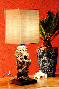 Driftwood Table Lamp 17 11/16in Antique Wood Desk Night Natural