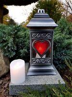Lanterne Funéraire + LED Bougie Lampe pour Tombes Lumière Granite Ange