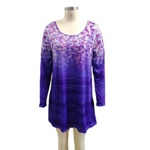 Round Neck Printed Long Sleeve Dress Party Clothing Skirt Tunic  Evening Dress