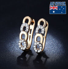 Pave Four Round Hoop Earrings Gift Elegant 18K Gold Filled Clear Cz Crystal