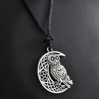 Vintage Crescent Moon Owl Pendant Necklace Charm Women Friend Gift Chic Jewelry