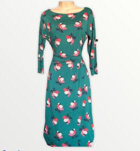 Boden Green Retro Floral Jersey Lottie Dress Size 12 R Smart J0045 Day M
