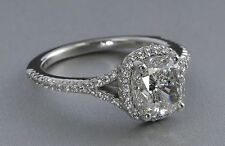 1 Ct Cushion Cut Solitaire Vintage Real Diamond Engagement Ring 14K White Gold