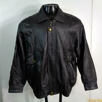 ZHOU BAO Soft LEATHER Bomber Flight JACKET Mens Size XL Black insulated