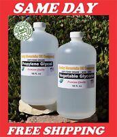 2 -16 oz VEGETABLE GLYCERIN + PROPYLENE GLYCOL FOOD GRADE PG VG