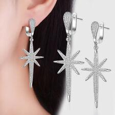 Fashion Solid 925 Sterling Silver CZ Gem Star Tassel Ear Hoop Dangle Earrings
