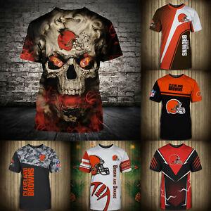 Cleveland Browns Mens T-shirt Summer Casual Short Sleeve Tee Top Shirts S-5XL