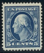 US #378 5¢ blue, og, NH w/gum skips, Superb centering