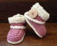 Hand Knitted Baby Booties Boots Slippers Sheepskin Style Button Girls 0-12M