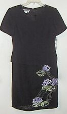 maggy london = 1 piece black evening dress = fancy floral design -size 8 petite