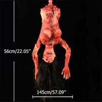 Halloween Horror Props Skeleton Hanging Corpse Zombie Haunted Half House Bo B5T3