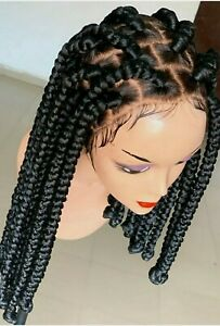 Braided Wig:custom handmade cornrows. Front Lacewig Location USA,