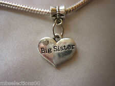 1x Big Sister Family Heart Pendant Charm with rhinestones suit European Bracelet