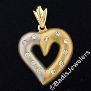 Large 14K TT Gold .44ct Round Burnish Diamond Sandblast Domed Open Heart Pendant