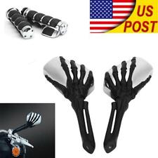 1'' Skull Hand Grips Mirrors For Honda Shadow ACE Aero Spirit VT 750 1100 Deluxe