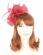 Red Sinamay Large Fan Shape Hair Fascinator Feather Tendrils Sprung Clip