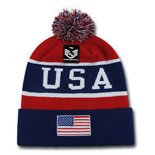 Navy Red USA Flag Patch US American Patriotic Knit Skull Beanie Beanies Cap Hat