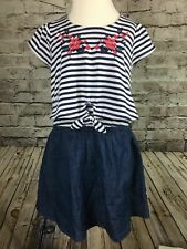 Lucky Brand Girls Short Sleeve Knit Red White Blue Denim Dress Size 2T