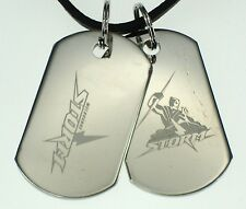 MELBOURNE STORM NRL LOGO MENS DOUBLE DOG TAG S/S LEATHER NECKLACE JEWELLERY
