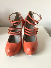 Orange Coral Strappy Summer High Heel Dress Shoes TOPSHOP size 6