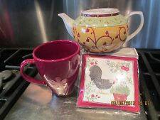 PIER ONE YELLOW & SAGE TEAPOT  SET ~ WITH SCENTED MUG MAT