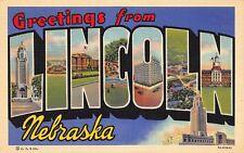 NE - 1937 Greetings from Lincoln, Nebraska Large Letter - Curteich