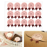 """120pcs """"handmade"""" Paper Stickers Labels Packaging Seal Craft Gift Decoration"""
