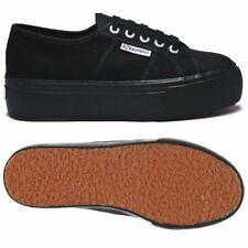 Zapatos Superga Mujer 2790 Plataforma Cuña Interior Hasta Y Abajo Full Black 996