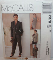 McCalls Sewing Pattern 2370 Misses Jacket Top Skirt Pants Size 14