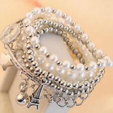 Fashion Womens Jewelry Gold Metal Pearl Multilayer Pendant BraceletGift