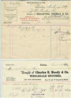 1885 & 1893 BOSTON MASSACHUSETTS BILLHEADS BRADFORD THOMAS & CHARLES MOODY 2 PCS