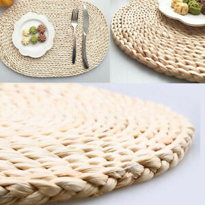 Round/Oval Rattan Placemat Straw Heat Proof Coaster Dining Table Mat Insulation