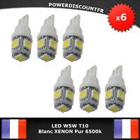 6 Veilleuses ampoules LED W5W T10 Blanc XENON bleuté 6500k 5 SMD voiture moto
