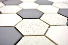Mosaïque carreau céramique beige noir Hexagaon non vitré 11G-0113-R10_b 1 plaque