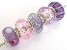 5 Splendid LILAC with PINK Glass Charm Beads for European Snake Bracelet