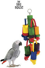 HAPPY PET PLAYTIME MULTIWOOD PARROT PARAKEETS WOOD ROPE HANGING CAGE TOY 00752